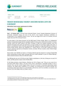 CONTACT – Media: Amsterdam Dublin Lisbon  CONTACT – Investor relations: