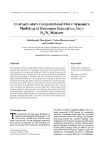 A. Sharafpoor et al. / Journal of Chemical and Petroleum Engineering, 51 (2), December135 Unsteady-state Computational Fluid Dynamics Modeling of Hydrogen Separation from