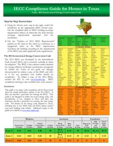 IECC Compliance Guide for Homes in Texas Code: 2012 International Energy Conservation Code Step-by-Step Instructions 1. Using the climate zone map to the right, match the jurisdiction to the appropriate IECC climate zone