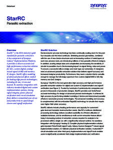 Datasheet  StarRC Parasitic extraction  Overview