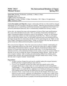 POSCMichael Strausz The International Relations of Japan Spring 2014
