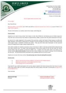 McGinn Road, Ferny Grove Q 4055 PO Box 128, Ferny Hills Q 4055 Tel: (Fax: (Email:  www.fernygroveshs.eq.edu.au