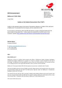 ASX Announcement Melbourne IT (ASX: MLB) Melbourne IT Ltd ABNACN