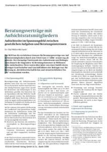 Erschienen in: Zeitschrift für Corporate Governance (ZCG), Heft, SeiteRecht • ZCG 3/06 • 99 Beratungsverträge mit Aufsichtsratsmitgliedern Aufsichtsräte im Spannungsfeld zwischen