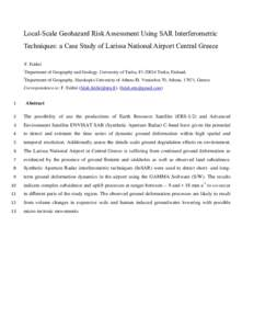 Local-Scale Geohazard Risk Assessment Using SAR Interferometric Techniques: a Case Study of Larissa National Airport Central Greece F. Fakhri 1  Department of Geography and Geology, University of Turku, F1Turku, F