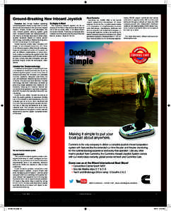 ON  N SPECIAL ADVERTISING SECTION SPECIAL ADVERTISING SECTION Ground-Breaking New Inboard Joystick