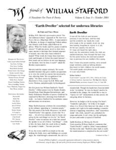 A Newsletter For Poets & Poetry  Volume 6, Issue 3 – October 2001 'Earth Dweller' selected for undersea libraries By Patty and Vince Wixon