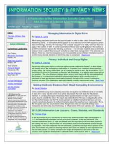 INFORMATION SECURITY & PRIVACY NEWS PAGE 7 INFORMATION SECURITY NEWS  A Publication of the Information Security Committee