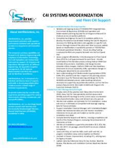 C4I SYSTEMS MODERNIZATION   and Fleet C4I Support