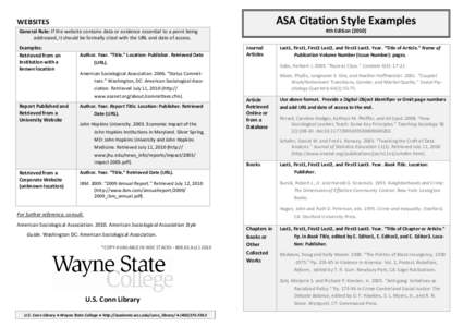 asa writing style Asa formatting style originates from the american sociological association and was initially developed for the authors, working on manuscripts for the.