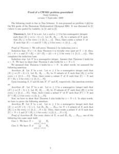 Proof of a CWMO problem generalized Darij Grinberg version 7 September 2009 The following result is due to Dan Schwarz. It was proposed as problem 4 (c) for the 9th grade of the Romanian Mathematical OlympiadIt wa