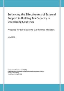 Enhancing the Effectiveness of External Support in Building Tax Capacity in Developing Countries