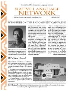Newsletter of The Indigenous Language Institute  NATIVE LANGUAGE NETWORK