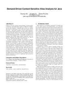 Demand-Driven Context-Sensitive Alias Analysis for Java Dacong Yan Guoqing Xu  Atanas Rountev