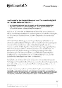 Pressemitteilung  Aufsichtsrat verlängert Mandat von Vorstandsmitglied Dr. Ariane Reinhart bis 2022 • •