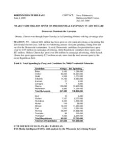 FOR IMMEDIATE RELEASE June 2, 2008 CONTACT:  Steve Rabinowitz