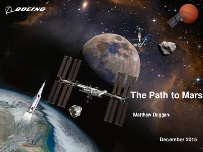 The Path to Mars Matthew Duggan December 2015 Copyright © 2010 Boeing. All rights reserved.