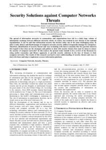 Int. J. Advanced Networking and Applications Volume: 07 Issue: 01 Pages: ISSN: Security Solutions against Computer Networks
