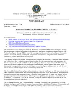 OFFICE OF THE DIRECTOR OF NATIONAL INTELLIGENCE PUBLIC AFFAIRS OFFICE WASHINGTON, D.C[removed]NEWS RELEASE