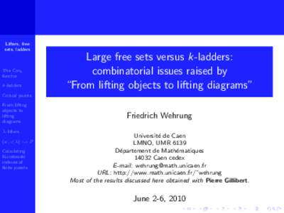 Lifters, free sets, ladders The Conc functor k-ladders