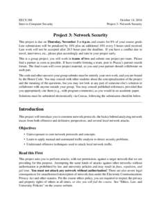 EECS 388 Intro to Computer Security October 14, 2016 Project 3: Network Security