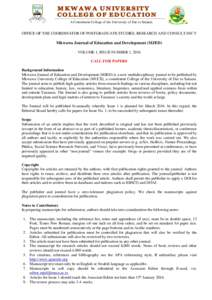 AUTHOR GUIDELINES FOR MKWAWA JOURNAL
