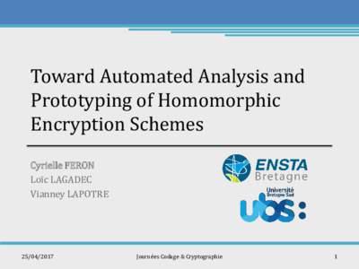 Toward Automated Analysis and Prototyping of Homomorphic Encryption Schemes Cyrielle FERON Loïc LAGADEC Vianney LAPOTRE