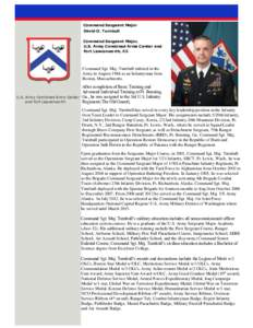 Command Sergeant Major David O. Turnbull Command Sergeant Major, U.S. Army Combined Arms Center and Fort Leavenworth, KS