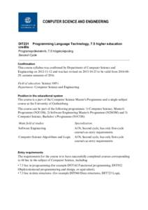 COMPUTER SCIENCE AND ENGINEERING  DIT231 credits  Programming Language Technology, 7.5 higher education