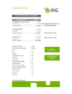 Cotización de Servicios  PLAN WEB HOSTING ECONOMICO CICLO DE PAGO  PRECIO