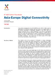 8th ASEF Editors' Roundtable  Asia-Europe Digital Connectivity 7-9 July 2016 Ulaanbaatar, Mongolia