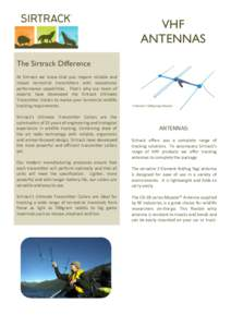 VHF ANTENNAS The Sirtrack Difference At Sirtrack we know that you require reliable and robust terrestrial transmitters with exceptional performance capabilities. That's why our team of