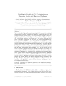 Gyrokinetic Particle-in-Cell Optimization on Emerging Multi- and Manycore Platforms Kamesh Madduria , Eun-Jin Imb , Khaled Z. Ibrahima , Samuel Williamsa , St´ephane Ethierc , Leonid Olikera a Computational