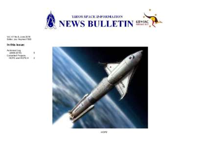 Vol. 41 No.9, June 2016 Editor: Jos Heyman FBIS In this issue: Astronaut Log)