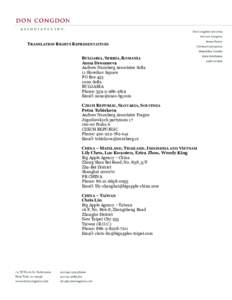TRANSLATION RIGHTS REPRESENTATIVES BULGARIA, SERBIA, ROMANIA Anna Droumeva Andrew Nurnberg Associates Sofia 11 Slaveikov Square PO Box 453