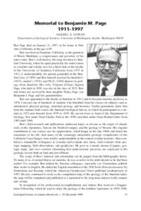 Memorial to Benjamin M. Page 1911–1997 DARREL S. COWAN Department of Geological Sciences, University of Washington, Seattle, Washington[removed]Ben Page died on January 31, 1997, at his home in Palo Alto, California, at