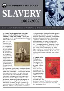 ALLSWORTH RARE BOOKS  SLAVERYA List to Mark the Bicentenary of the 1807 Act of Parliament to Abolish the Slave Trade