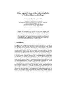 Hypersequent Systems for the Admissible Rules of Modal and Intermediate Logics Rosalie Iemhoff1 and George Metcalfe2 1  Department of Philosophy, Utrecht University