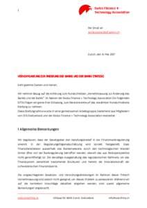 1  Per Email an   Zurich, den 8. Mai 2017