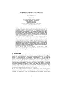 Model-Driven Software Verification Gerard J. Holzmann Rajeev Joshi JPL Laboratory for Reliable Software California Institute of Technology 4800 Oak Grove Drive