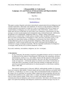 OKLAHOMA WORKING PAPERS IN INDIGENOUS LANGUAGES  Vol): 9-21 A Responsibility to Understand: Language, Art, and Patterns of Interpretation and Representation