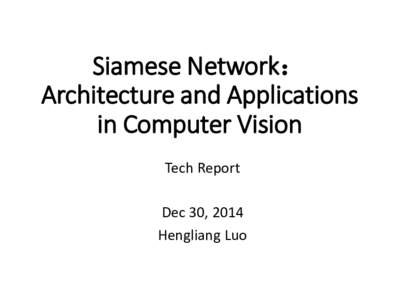 Siamese Network: Architecture and Applications in Computer Vision Tech Report Dec 30, 2014 Hengliang Luo