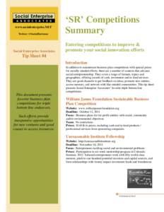 www.socialenterprise.NET Twitter: @SocialEntAssoc Social Enterprise Associates  'SR' Competitions
