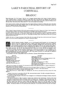 Page 1 of 2  LAKE'S PAROCHIAL HISTORY OF CORNWALL BRADOC Extract from pages 70 to 76 of Volume I, Part No. 4 of