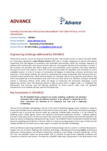 ADVANCE    ADVANCED DESIGN AND VERIFICATION ENVIRONMENT FOR CYBER-‐PHYSICAL SYSTEM