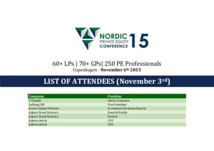 60+ LPs   70+ GPs  250 PE Professionals Copenhagen - November 6th 2015 LIST OF ATTENDEES (November 3rd) )