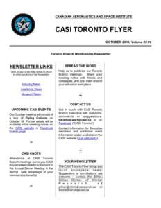 CANADIAN AERONAUTICS AND SPACE INSTITUTE  CASI TORONTO FLYER OCTOBER 2014, Volume 22 #2  Toronto Branch Membership Newsletter