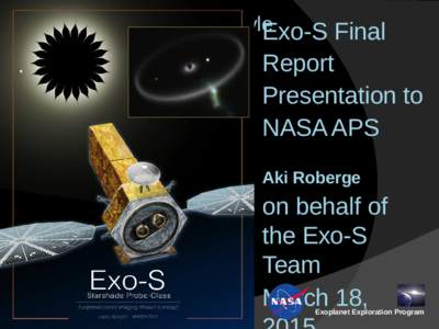 Click to edit Master title style Exo-S Final Report Presentation to NASA APS