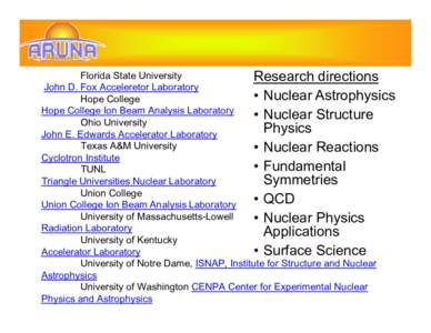 Florida State University Research directions John D. Fox Acceleretor Laboratory • Nuclear Astrophysics Hope College Hope College Ion Beam Analysis Laboratory