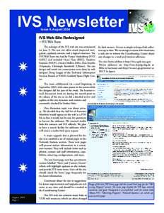 IVS Newsletter Issue 9, August 2004 IVS Web Site Redesigned − IVS Web Team
